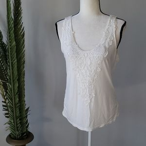 3/$9 Dressbarn cream colored tank with embroidery